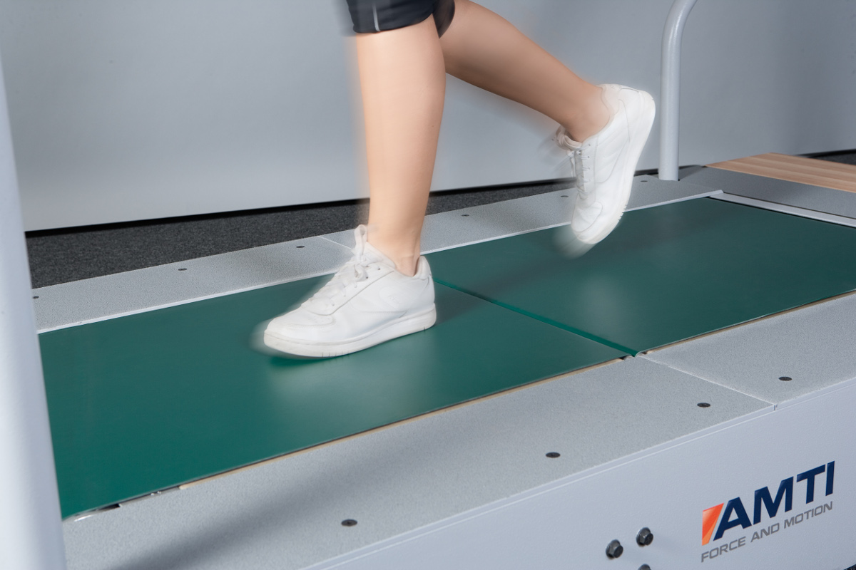 AMTI low profile instrumented treadmill with dual force plates - close up of running surface